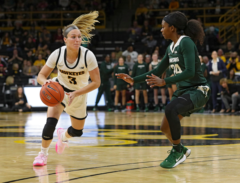 Iowa Hawkeyes guard Makenzie Meyer (3) drives with the ball during the third quarter of their game at Carver-Hawkeye Arena in Iowa City on Sunday, January 26, 2020. (Stephen Mally/hawkeyesports.com)
