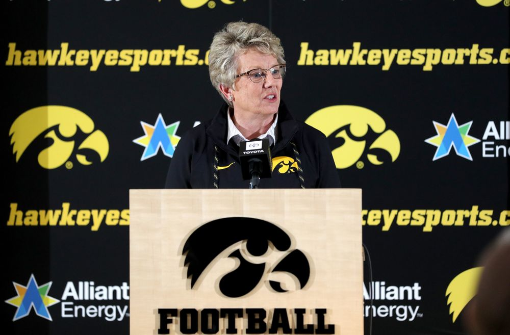 University of Iowa Deputy Director of Athletics Barbara Burke addresses the media on the Hawkeyes selection to face USC in the 2019 Holiday Bowl Sunday, December 8, 2019 at the Hansen Football Performance Center. (Brian Ray/hawkeyesports.com)