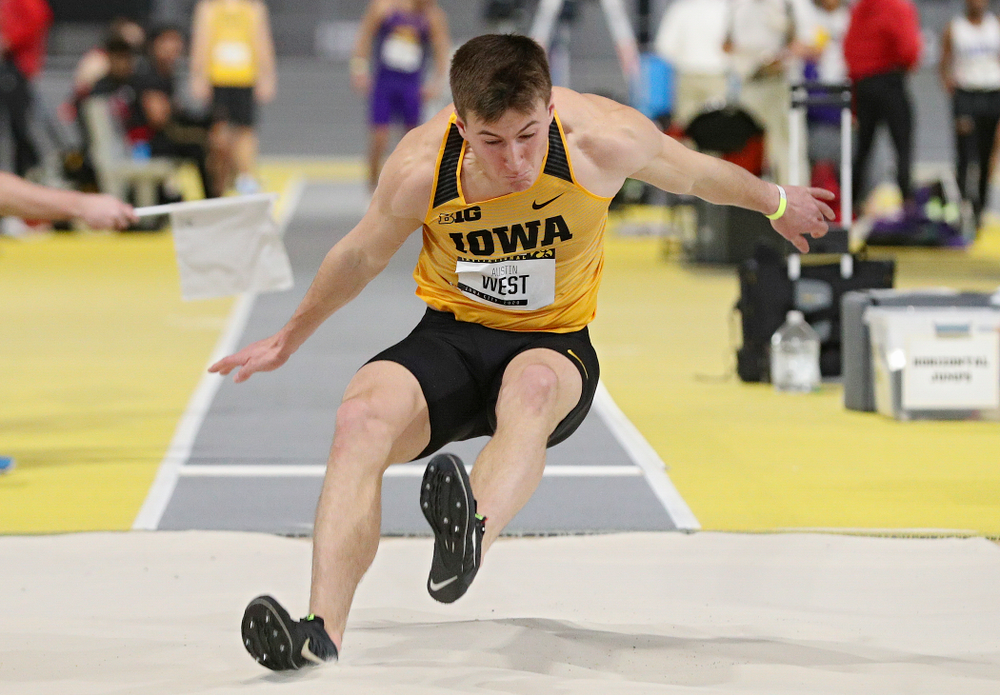 Iowa's Austin West competes in the men's long jump event during the Hawkeye Invitational at the Recreation Building in Iowa City on Saturday, January 11, 2020. (Stephen Mally/hawkeyesports.com)