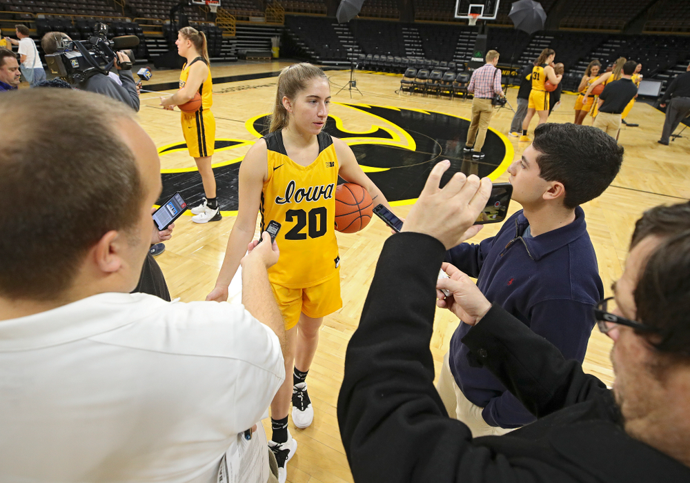 Iowa guard Kate Martin (20) answers questions during Iowa Women's Basketball Media Day at Carver-Hawkeye Arena in Iowa City on Thursday, Oct 24, 2019. (Stephen Mally/hawkeyesports.com)