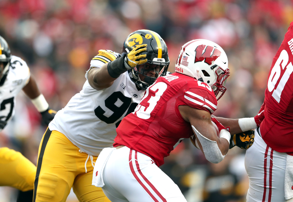 Iowa Hawkeyes defensive lineman Cedrick Lattimore (95) against the Wisconsin Badgers Saturday, November 9, 2019 at Camp Randall Stadium in Madison, Wisc. (Brian Ray/hawkeyesports.com)