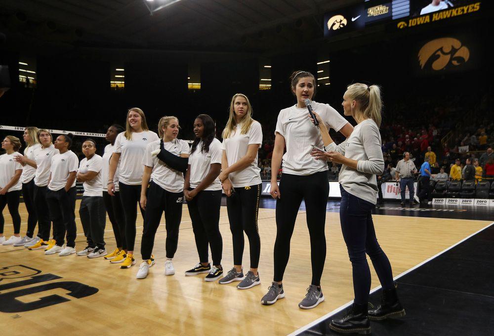 Iowa Hawkeyes women's basketball forward Megan Gustafson is interviewed during intermission during a match against Nebraska at Carver-Hawkeye Arena on November 7, 2018. (Tork Mason/hawkeyesports.com)