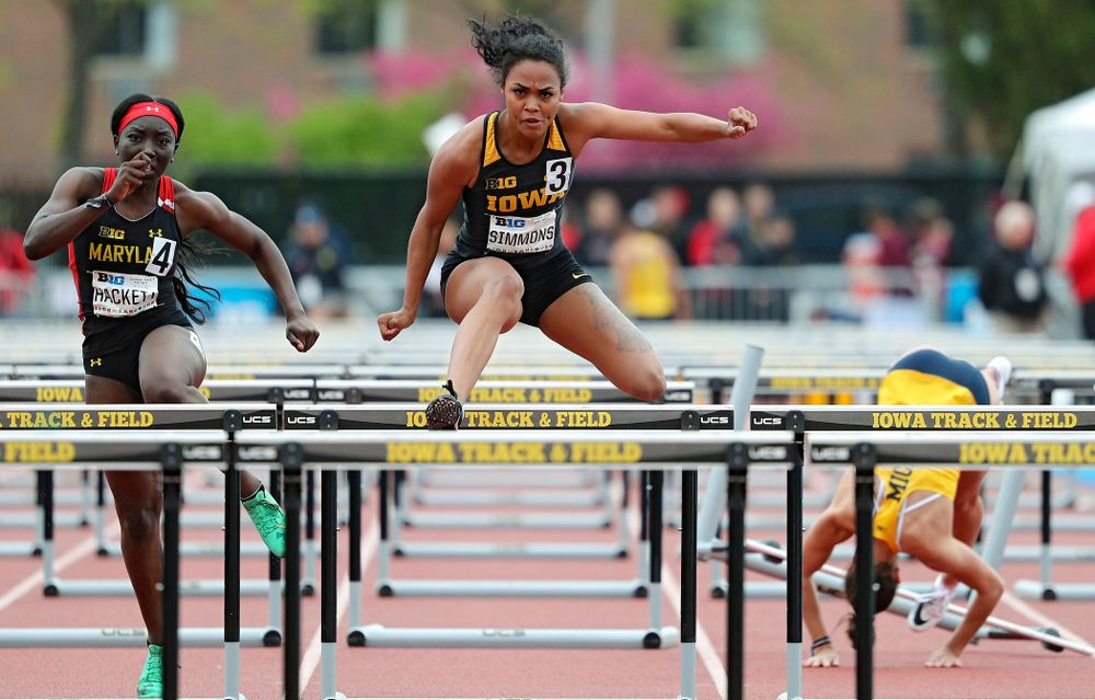 Iowa's Tria Simmons runs the women's 100 meter hurdles event on the second day of the Big Ten Outdoor Track and Field Championships at Francis X. Cretzmeyer Track in Iowa City on Saturday, May. 11, 2019. (Stephen Mally/hawkeyesports.com)