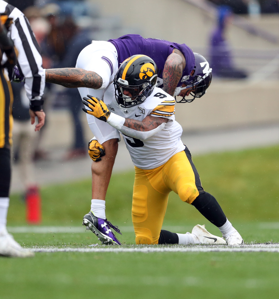 Iowa Hawkeyes defensive back Geno Stone (9) against the Northwestern Wildcats Saturday, October 26, 2019 at Ryan Field in Evanston, Ill. (Brian Ray/hawkeyesports.com)