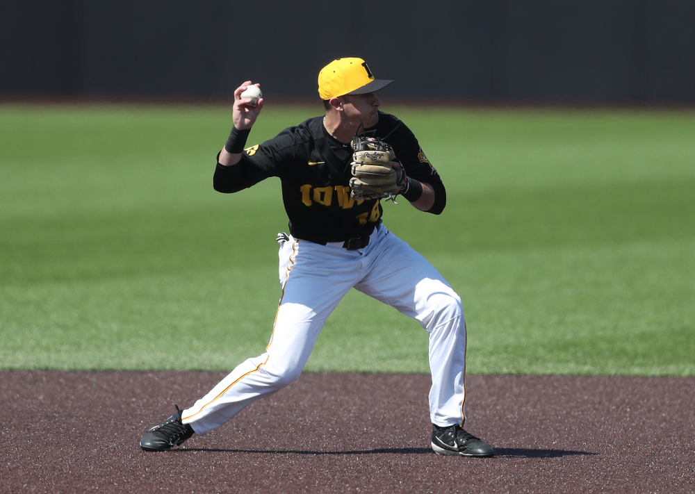 Iowa Hawkeyes Tanner Wetrich (16) during game two against UC Irvine Saturday, May 4, 2019 at Duane Banks Field. (Brian Ray/hawkeyesports.com)