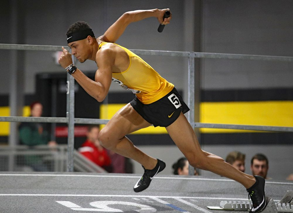 Iowa's Jamal Britt runs the men's 1600 meter relay premier event during the Larry Wieczorek Invitational at the Recreation Building in Iowa City on Saturday, January 18, 2020. (Stephen Mally/hawkeyesports.com)