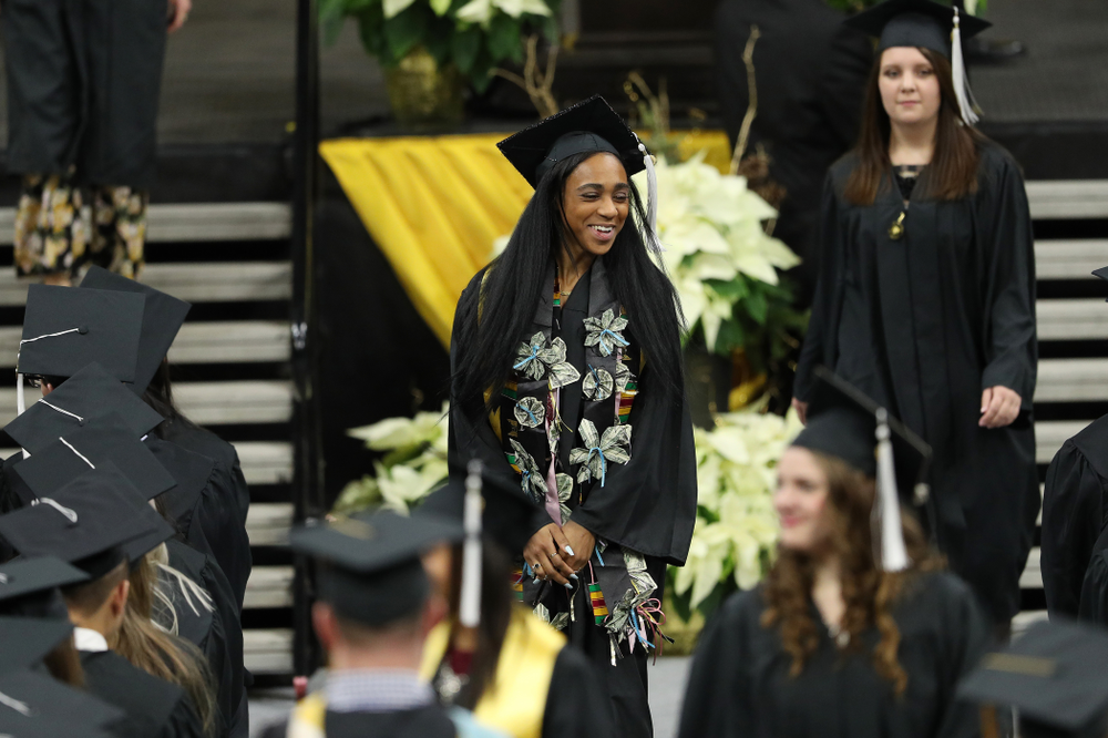 Iowa Track's Briana Guillory during the Fall Commencement Ceremony  Saturday, December 15, 2018 at Carver-Hawkeye Arena. (Brian Ray/hawkeyesports.com)