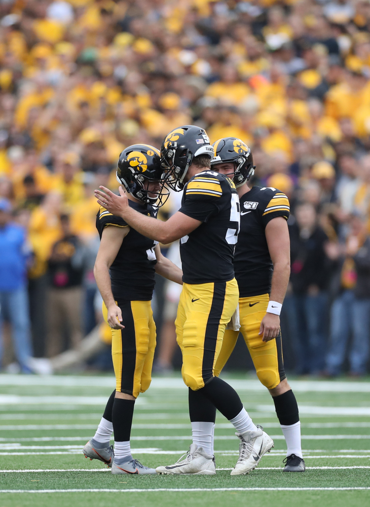 Iowa Hawkeyes long snapper Jackson Subbert (50) anD place kicker Keith Duncan (3) gainst Middle Tennessee State Saturday, September 28, 2019 at Kinnick Stadium. (Max Allen/hawkeyesports.com)