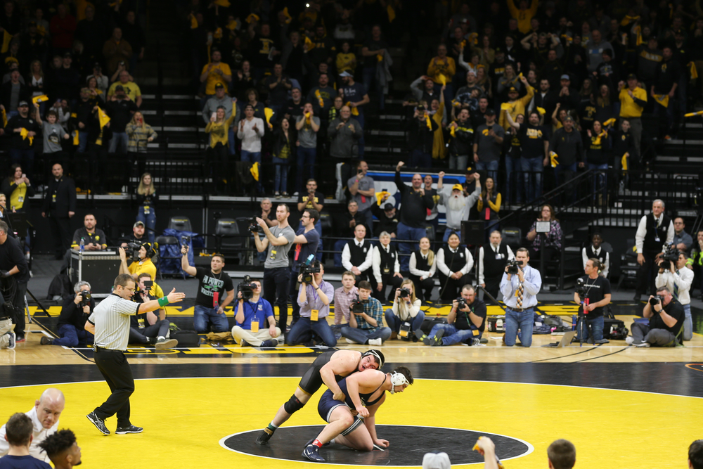 Iowa's Tony Cassioppi wrestles Penn State's Seth Nevills during their 285 lbs match during the Iowa wrestling dual vs Penn State on Friday, January 31, 2020 at Carver-Hawkeye Arena. (Lily Smith/hawkeyesports.com)