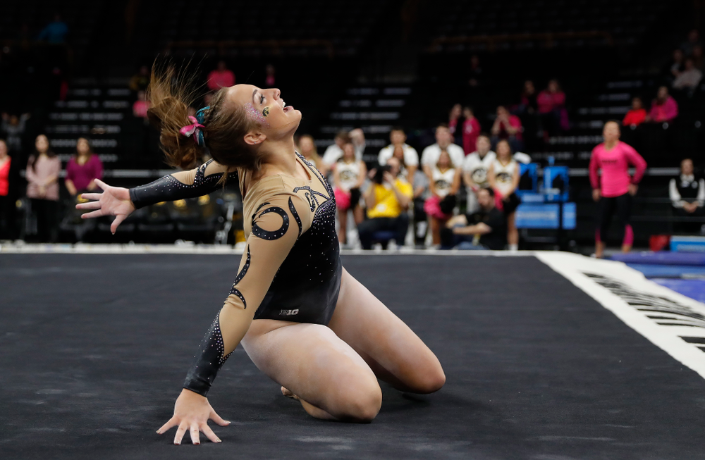 Iowa's Bre Fitzke competes on the floor
