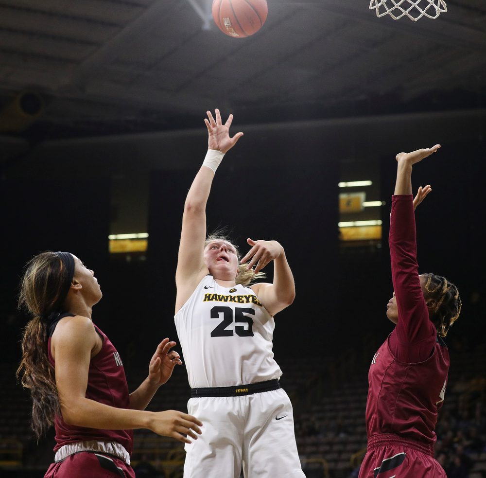 Iowa Hawkeyes forward Monika Czinano (25) puts up a shot during a game against North Carolina Central at Carver-Hawkeye Arena on November 17, 2018. (Tork Mason/hawkeyesports.com)