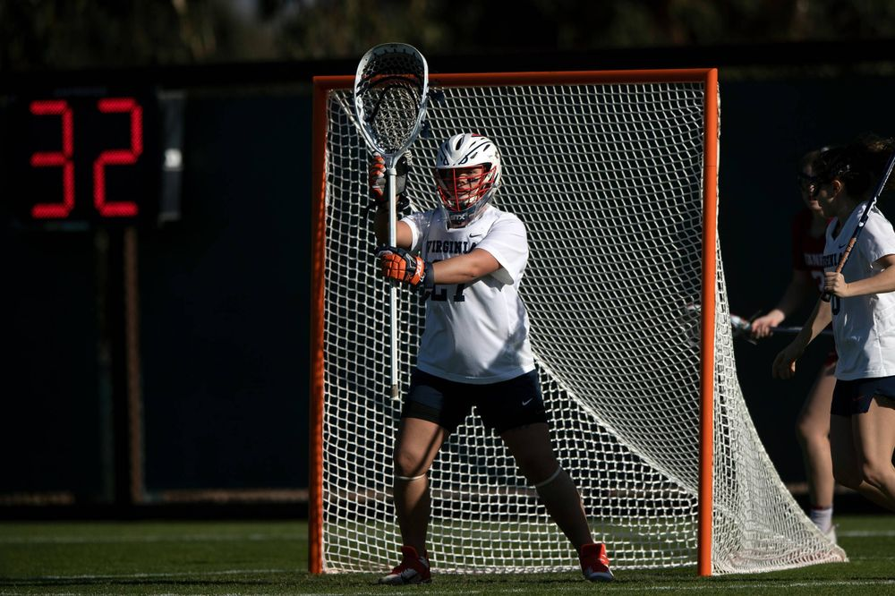 STANFORD, California - FEBRUARY 14:  Virginia Cavaliers goalkeeper Charlie Campbell (27) stands in goal during the first half against the Stanford Cardinal at Cagan Stadium on February 14, 2020 in Stanford, California. The Virginia Cavaliers defeated the Stanford Cardinal 12-11. (Photo by Jason O. Watson)