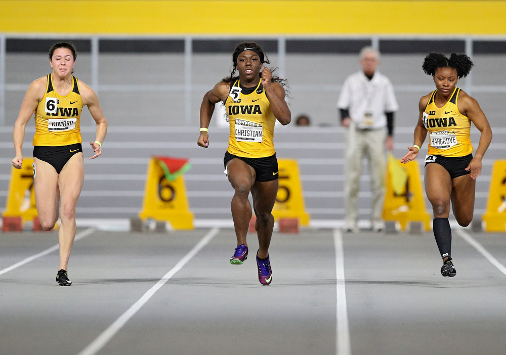 Iowa's Jenny Kimbro (from left), Antonise Christian, and Lasarah Hargrove run the women's 60 meter dash event during the Hawkeye Invitational at the Recreation Building in Iowa City on Saturday, January 11, 2020. (Stephen Mally/hawkeyesports.com)