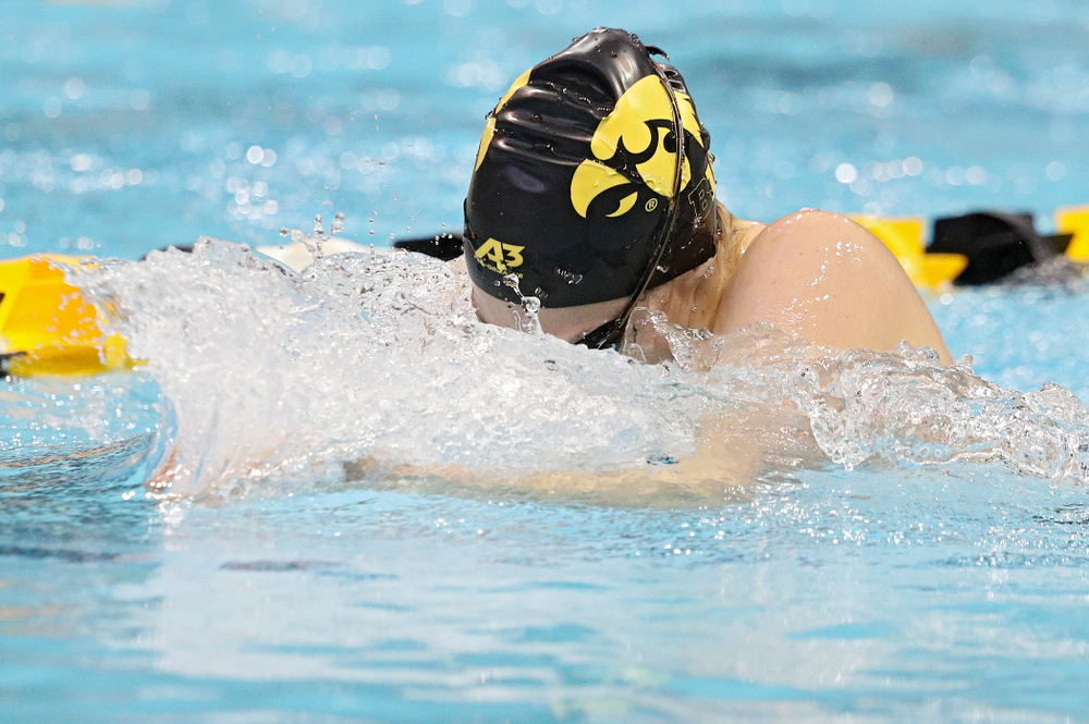 Iowa's Lexi Horner swims the women's 200-yard breaststroke event during their meet against Michigan State and Northern Iowa at the Campus Recreation and Wellness Center in Iowa City on Friday, Oct 4, 2019. (Stephen Mally/hawkeyesports.com)