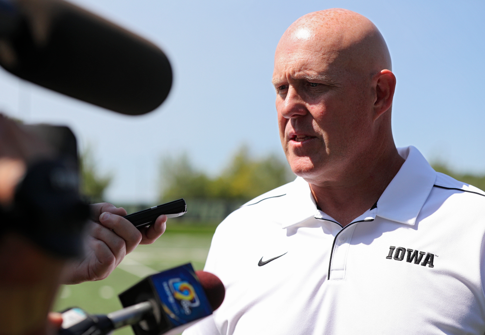Iowa Hawkeyes strength and conditioning coordinator Chris Doyle answers questions during Iowa Football Media Day at the Hansen Football Performance Center in Iowa City on Friday, Aug 9, 2019. (Stephen Mally/hawkeyesports.com)