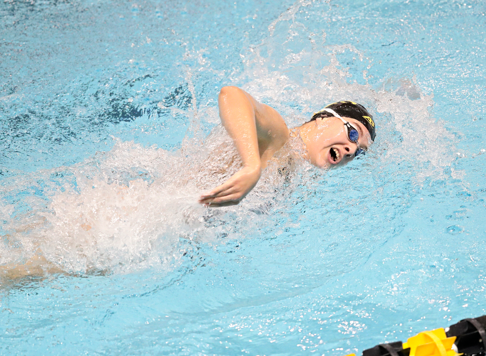 Iowa's Maddie Ziegert swims the women's 200 yard freestyle event during their meet at the Campus Recreation and Wellness Center in Iowa City on Friday, February 7, 2020. (Stephen Mally/hawkeyesports.com)