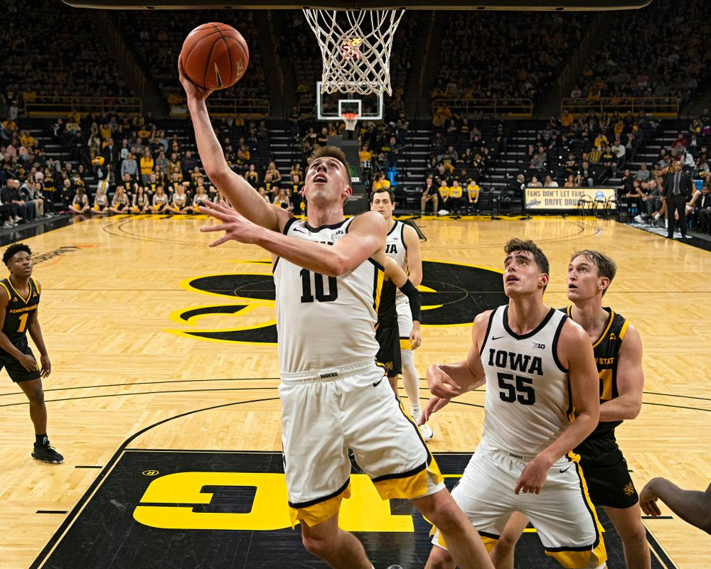 Iowa Hawkeyes guard Joe Wieskamp (10) makes a basket during the second half of their their game at Carver-Hawkeye Arena in Iowa City on Sunday, December 29, 2019. (Stephen Mally/hawkeyesports.com)