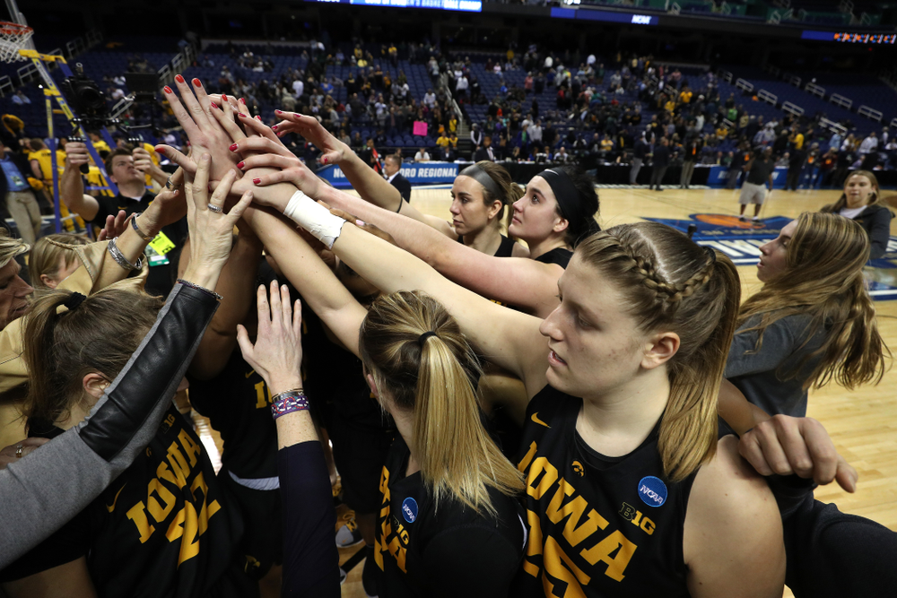 The Iowa Hawkeyes in the regional final against the Baylor Lady Bears in the 2019 NCAA Women's College Basketball Tournament Monday, April 1, 2019 at Greensboro Coliseum in Greensboro, NC.(Brian Ray/hawkeyesports.com)