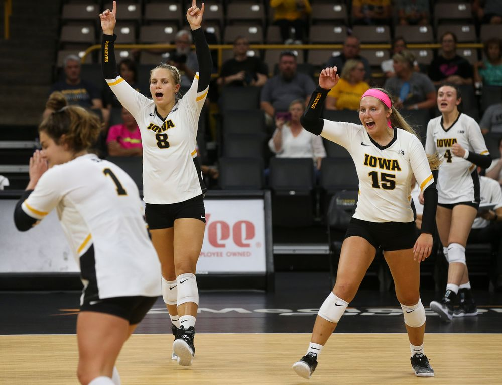 Iowa Hawkeyes right side hitter Reghan Coyle (8), Iowa Hawkeyes defensive specialist Maddie Slagle (15)