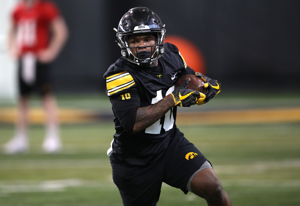 Iowa Hawkeyes running back Mekhi Sargent (10) during preparation for the 2019 Outback Bowl Tuesday, December 18, 2018 at the Hansen Football Performance Center. (Brian Ray/hawkeyesports.com)