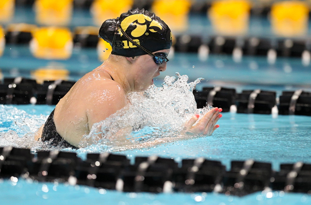 Iowa's Christina Crane swims a 100 yard breaststroke time trial during the 2020 Big Ten Women's Swimming and Diving Championships at the Campus Recreation and Wellness Center in Iowa City on Wednesday, February 19, 2020. (Stephen Mally/hawkeyesports.com)