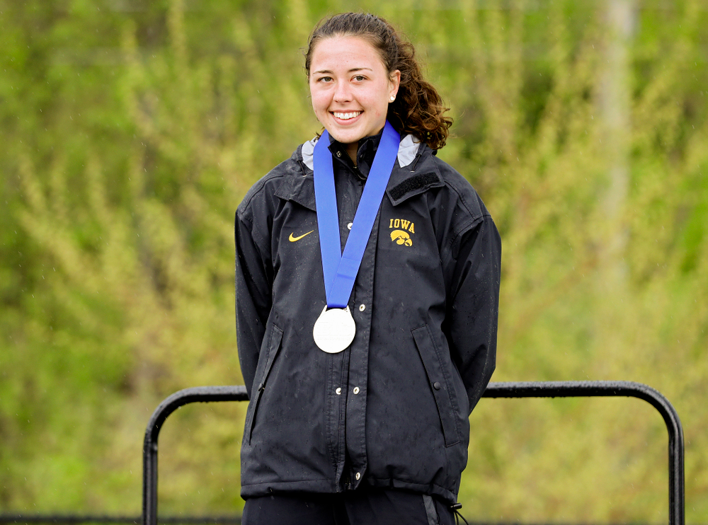 Iowa's Jenny Kimbro on the award stand after placing second in the heptathlon event on the second day of the Big Ten Outdoor Track and Field Championships at Francis X. Cretzmeyer Track in Iowa City on Saturday, May. 11, 2019. (Stephen Mally/hawkeyesports.com)
