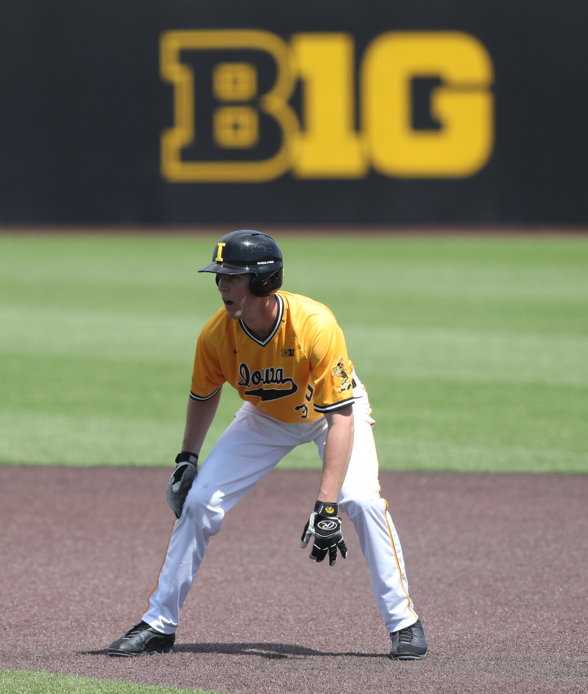 Iowa Hawkeyes Connor McCaffery (30) against the Nebraska Cornhuskers Sunday, April 21, 2019 at Duane Banks Field. (Brian Ray/hawkeyesports.com)