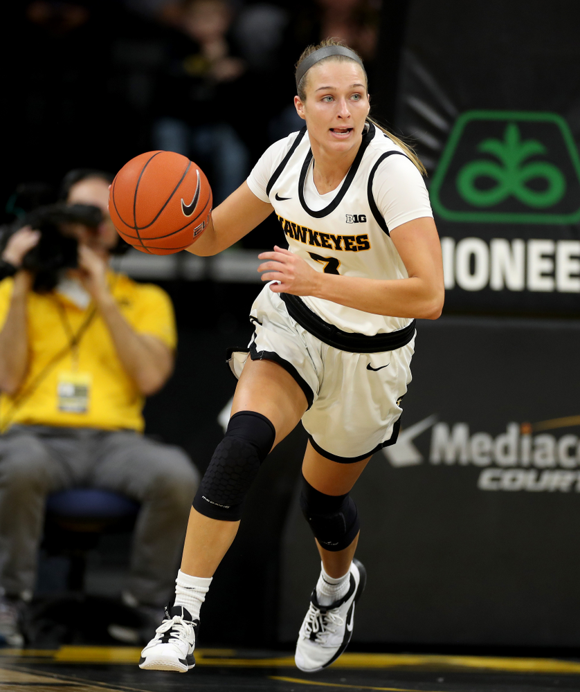 Iowa Hawkeyes guard Makenzie Meyer (3) against Penn State Saturday, February 22, 2020 at Carver-Hawkeye Arena. (Brian Ray/hawkeyesports.com)