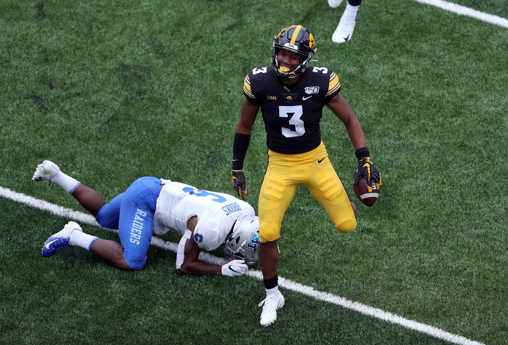 Iowa Hawkeyes wide receiver Tyrone Tracy Jr. (3) against Middle Tennessee State Saturday, September 28, 2019 at Kinnick Stadium. (Brian Ray/hawkeyesports.com)