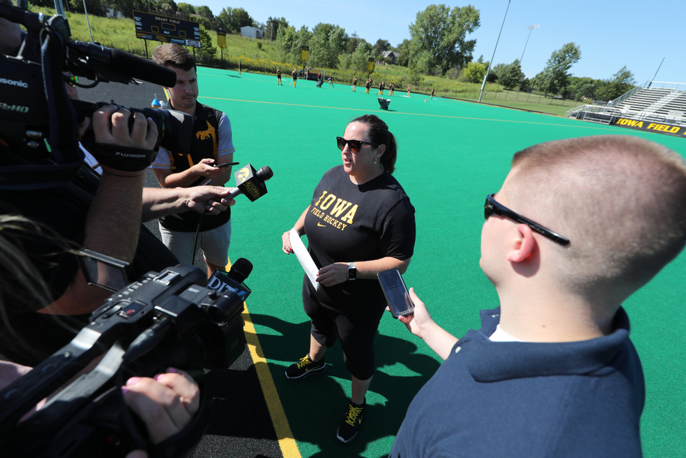 Iowa Hawkeyes head coach Lisa Cellucci during the teamÕs annual media day Friday, August 23, 2019 at Grant Field. (Brian Ray/hawkeyesports.com)