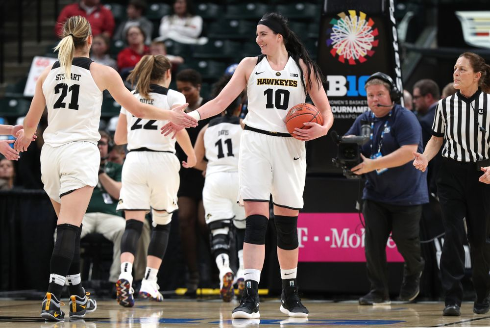 Iowa Hawkeyes forward Megan Gustafson (10) and forward Hannah Stewart (21) against the Indiana Hoosiers in the quarterfinals of the Big Ten Tournament Friday, March 8, 2019 at Bankers Life Fieldhouse in Indianapolis, Ind. (Brian Ray/hawkeyesports.com)