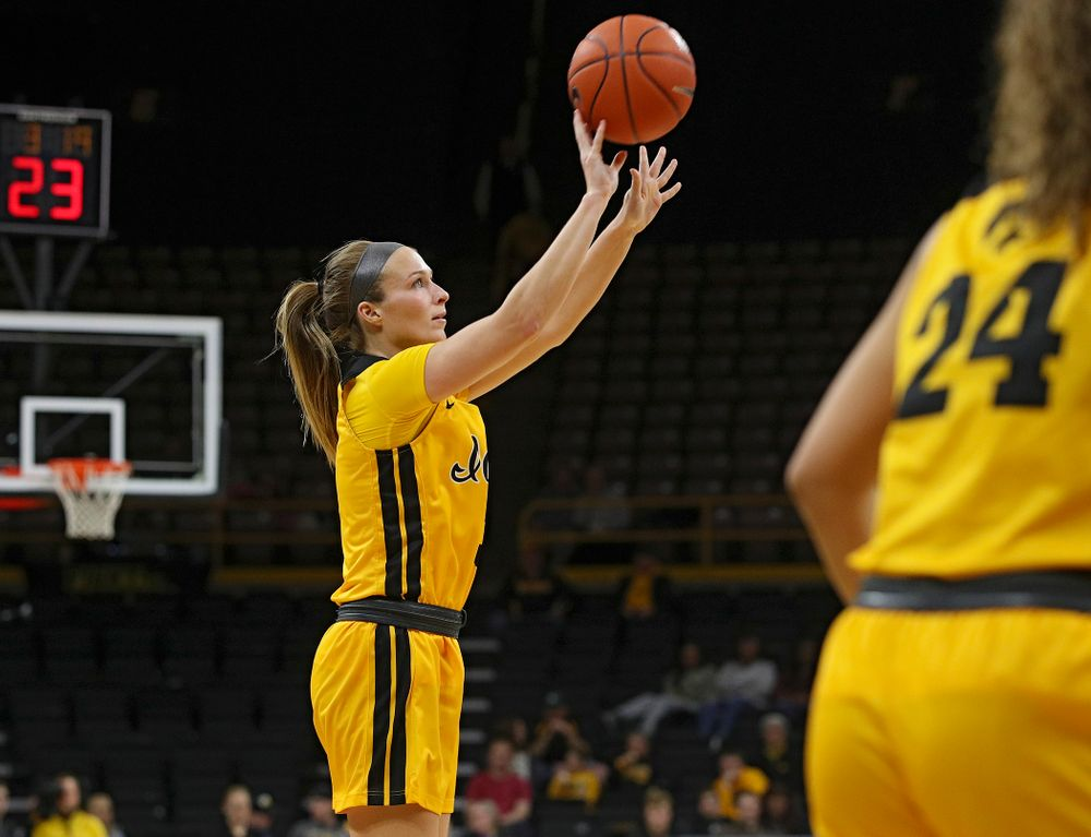 Iowa Hawkeyes guard Makenzie Meyer (3) makes a 3-pointer during the third quarter of their game at Carver-Hawkeye Arena in Iowa City on Thursday, January 23, 2020. (Stephen Mally/hawkeyesports.com)