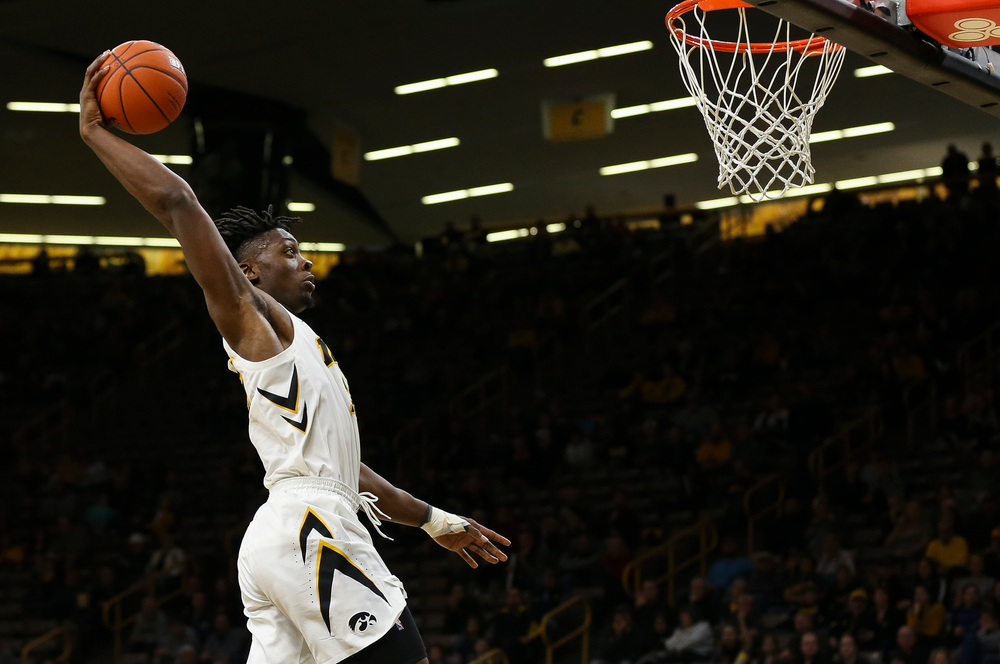 Iowa Hawkeyes forward Tyler Cook (25) dunks the ball during a game against Guilford College at Carver-Hawkeye Arena on November 4, 2018. (Tork Mason/hawkeyesports.com)