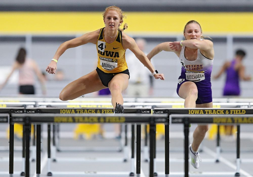 Iowa's Kylie Morken runs in the women's 60 meter hurdles prelim event during the Hawkeye Invitational at the Recreation Building in Iowa City on Saturday, January 11, 2020. (Stephen Mally/hawkeyesports.com)