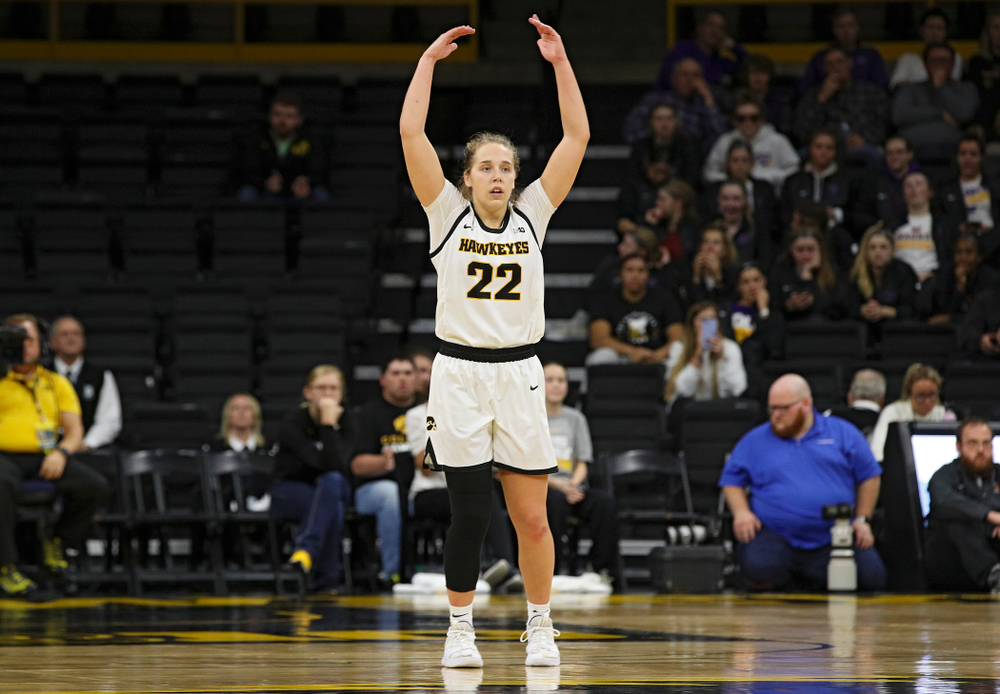 Iowa guard Kathleen Doyle (22) pumps up the crowd during overtime in their win against Princeton at Carver-Hawkeye Arena in Iowa City on Wednesday, Nov 20, 2019. (Stephen Mally/hawkeyesports.com)