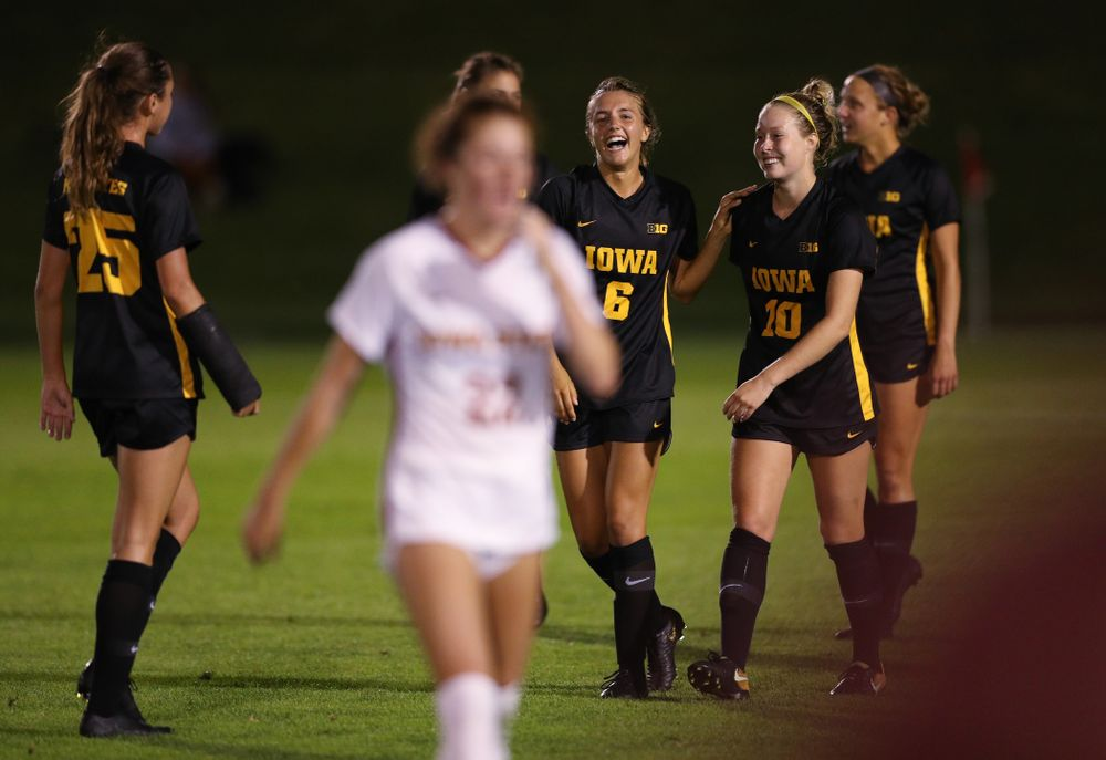 Iowa Hawkeyes midfielder Isabella Blackman (6) and midfielder/defender Natalie Winters (10) during a 2-1 victory over the Iowa State Cyclones Thursday, August 29, 2019 in the Iowa Corn Cy-Hawk series at the Iowa Soccer Complex. (Brian Ray/hawkeyesports.com)