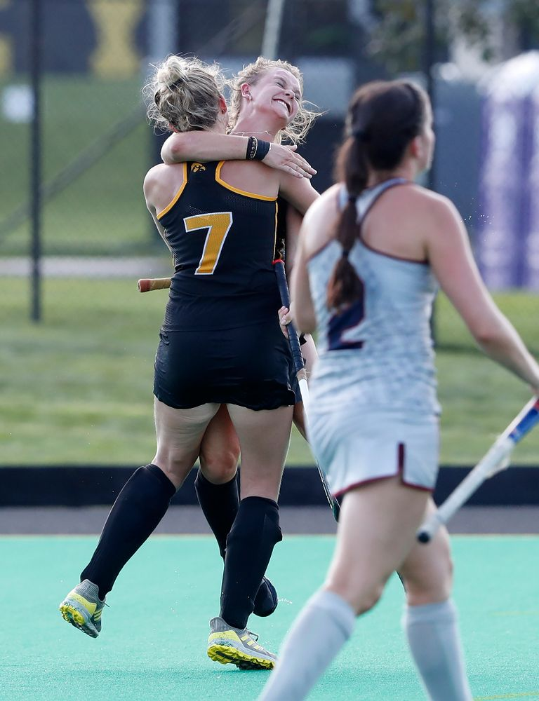 Iowa Hawkeyes Maddy Murphy (26) celebrates with Ellie Holley (7)  after scoring against the Penn Quakers Friday, September 14, 2018 at Grant Field. (Brian Ray/hawkeyesports.com)