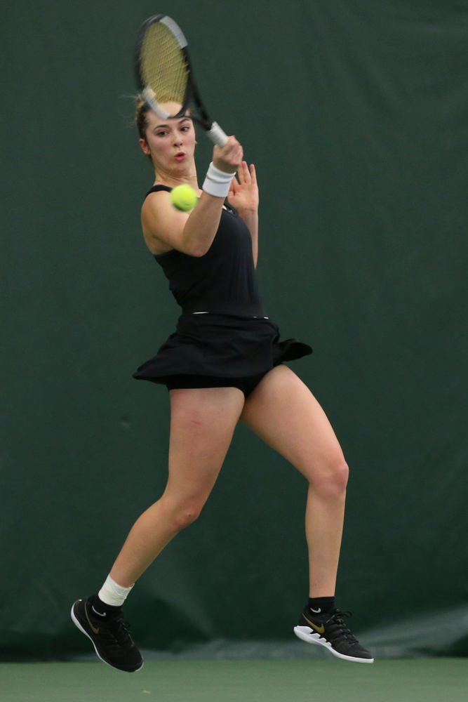 Iowa's Samantha Mannix returns a hit during the Iowa women's tennis meet vs UNI  on Saturday, February 29, 2020 at the Hawkeye Tennis and Recreation Complex. (Lily Smith/hawkeyesports.com)