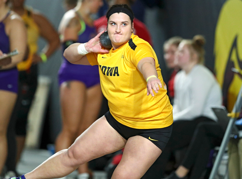 Iowa's Jamie Kofron competes in the women's shot put event during the Hawkeye Invitational at the Recreation Building in Iowa City on Saturday, January 11, 2020. (Stephen Mally/hawkeyesports.com)