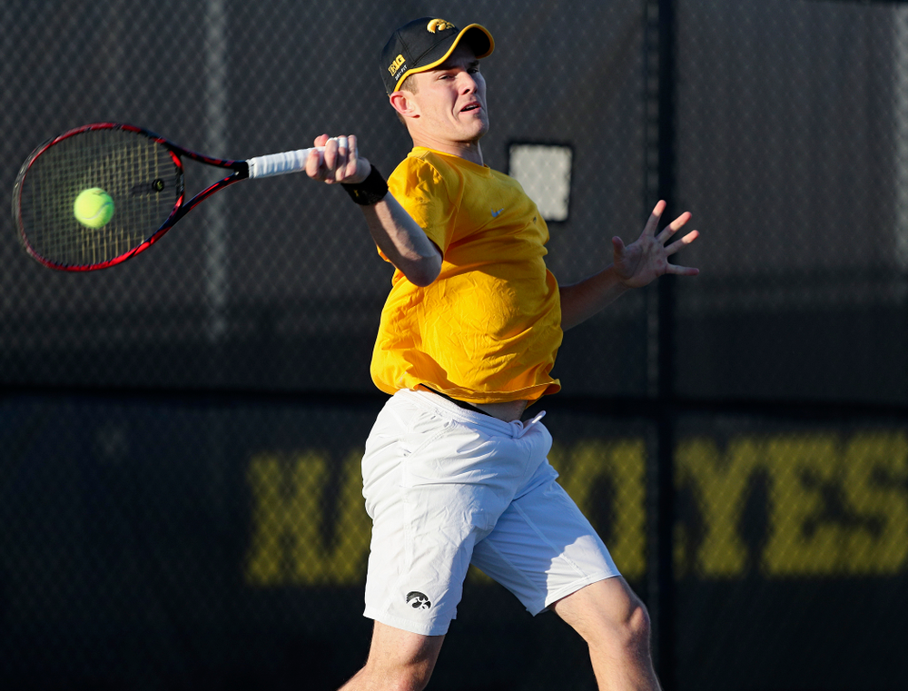 Iowa's Jonas Larsen during his match again Michigan State at the Hawkeye Tennis and Recreation Complex in Iowa City on Friday, Apr. 19, 2019. (Stephen Mally/hawkeyesports.com)