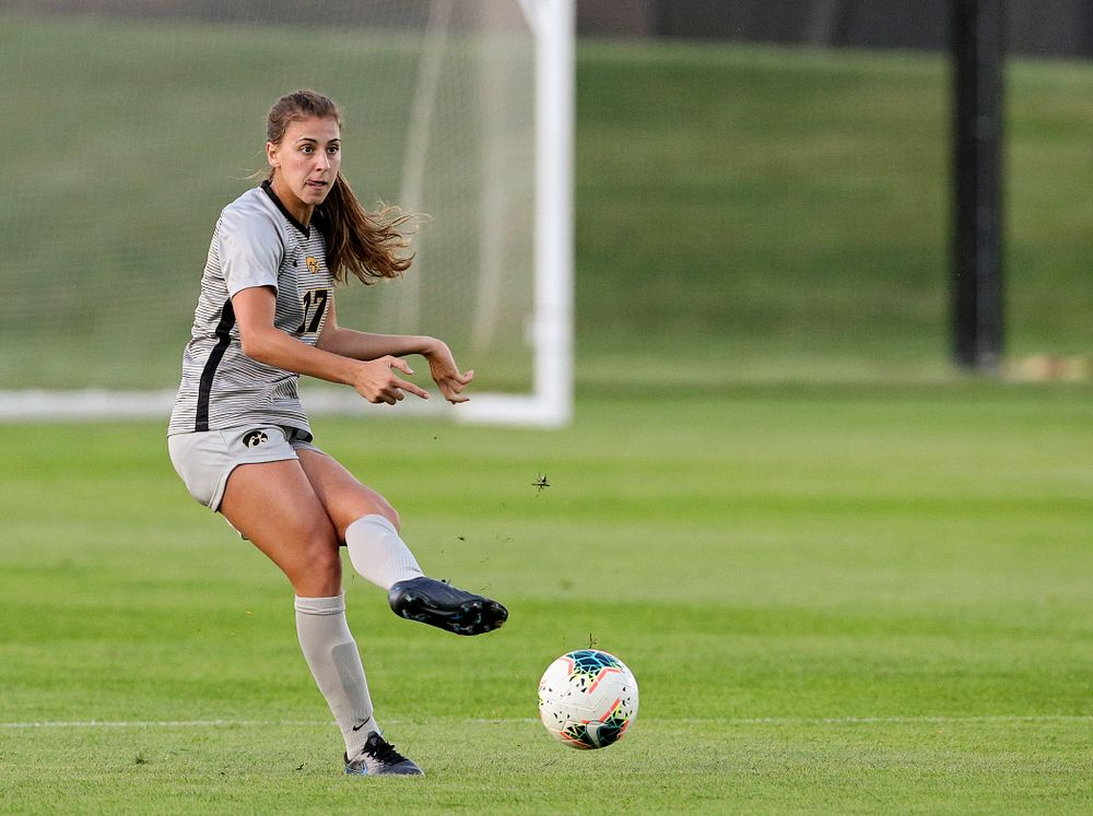 Iowa defender Hannah Drkulec (17) passes during the first half of their match at the Iowa Soccer Complex in Iowa City on Friday, Sep 13, 2019. (Stephen Mally/hawkeyesports.com)