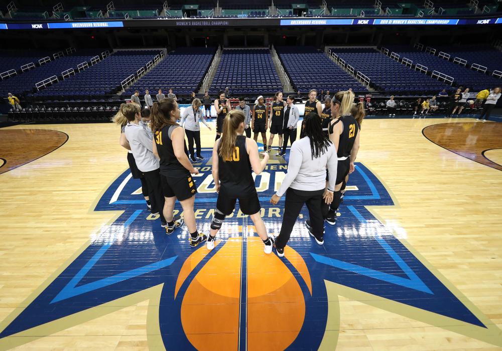 The Iowa Hawkeyes during media and practice as they prepare for their Sweet 16 matchup against NC State Friday, March 29, 2019 at the Greensboro Coliseum in Greensboro, NC.(Brian Ray/hawkeyesports.com)