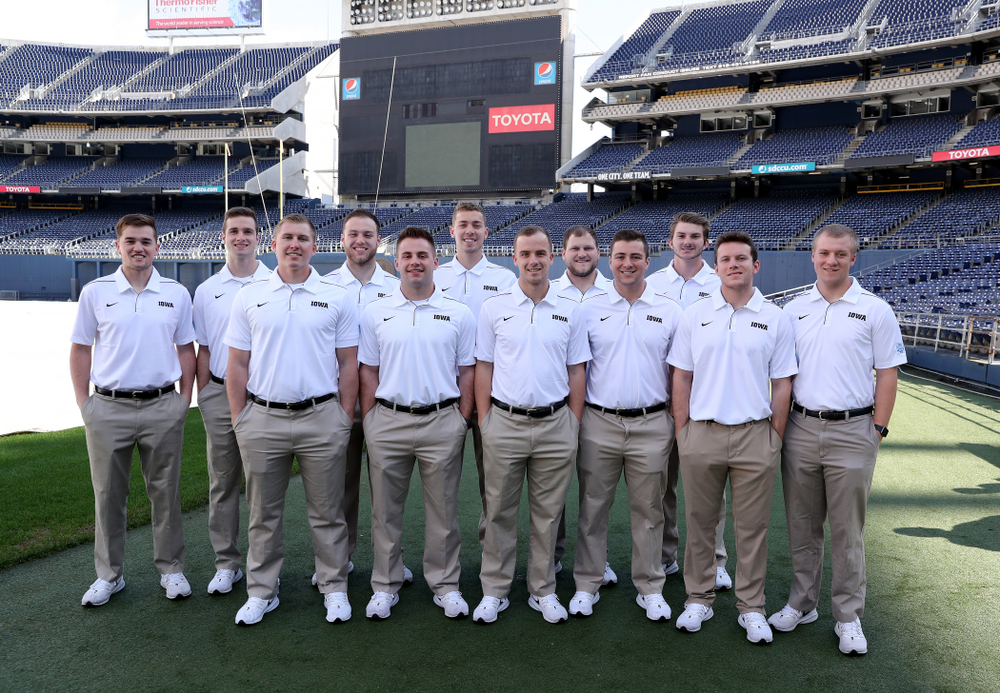 The Hawkeye Football Managers following the team photo Wednesday, December 25, 2019 at SDCCU Stadium in San Diego. (Brian Ray/hawkeyesports.com)
