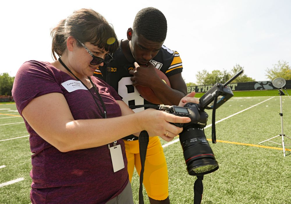Iowa Hawkeyes defensive back Matt Hankins (8) looks at a picture during Iowa Football Media Day at the Hansen Football Performance Center in Iowa City on Friday, Aug 9, 2019. (Stephen Mally/hawkeyesports.com)