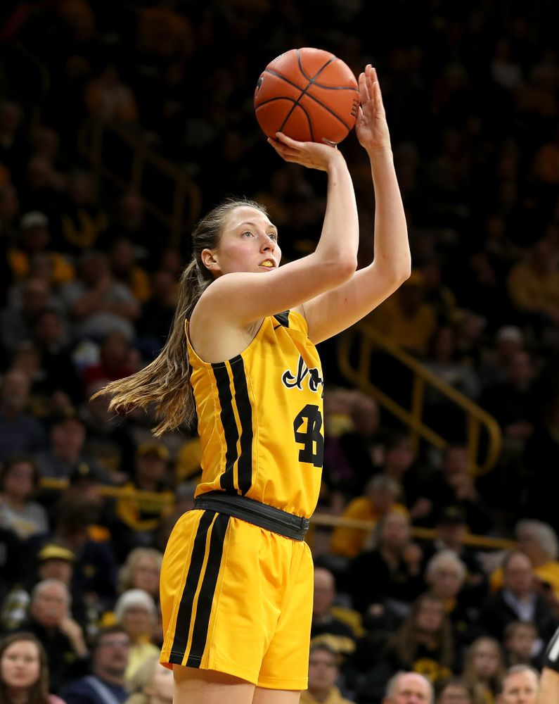 Iowa Hawkeyes forward Amanda Ollinger (43) against the Minnesota Golden Gophers Thursday, February 27, 2020 at Carver-Hawkeye Arena. (Brian Ray/hawkeyesports.com)
