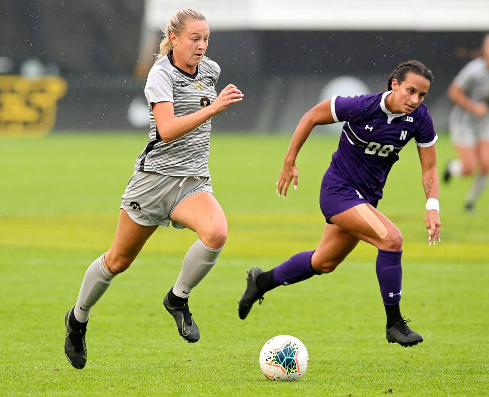 Iowa midfielder Hailey Rydberg (2) moves with the ball during the first half of their match at the Iowa Soccer Complex in Iowa City on Sunday, Sep 29, 2019. (Stephen Mally/hawkeyesports.com)