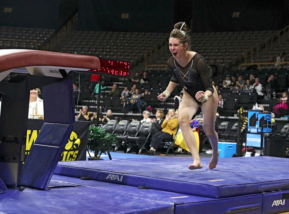 Iowa's Bridget Killian competes on the vault during their meet at Carver-Hawkeye Arena in Iowa City on Sunday, March 8, 2020. (Stephen Mally/hawkeyesports.com)