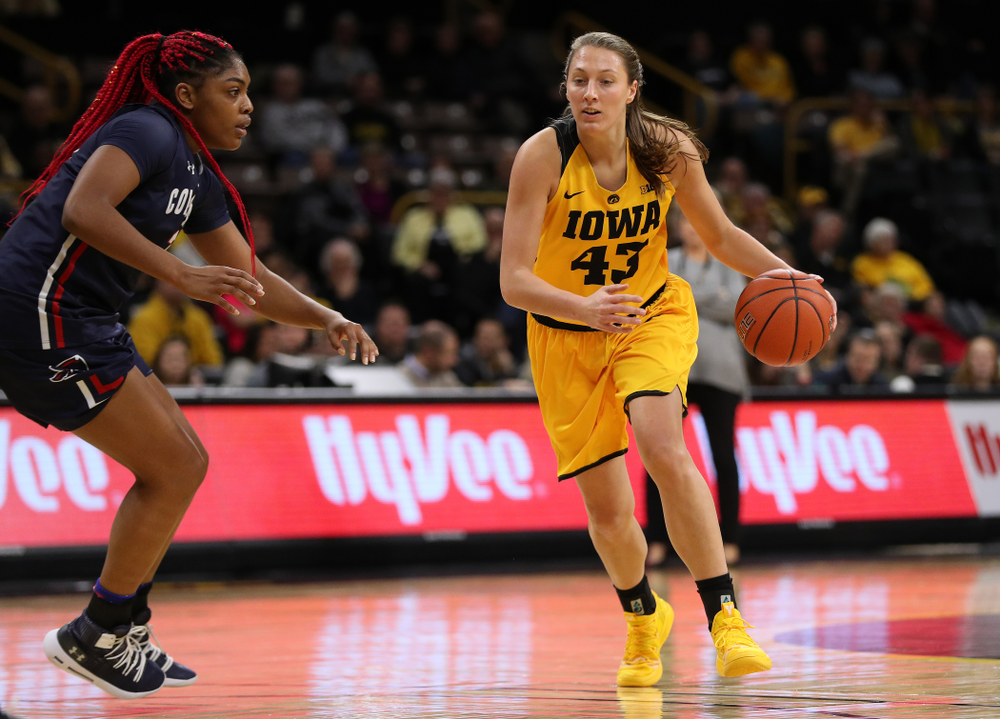 Iowa Hawkeyes forward Amanda Ollinger (43) against the Robert Morris Colonials Sunday, December 2, 2018 at Carver-Hawkeye Arena. (Brian Ray/hawkeyesports.com)