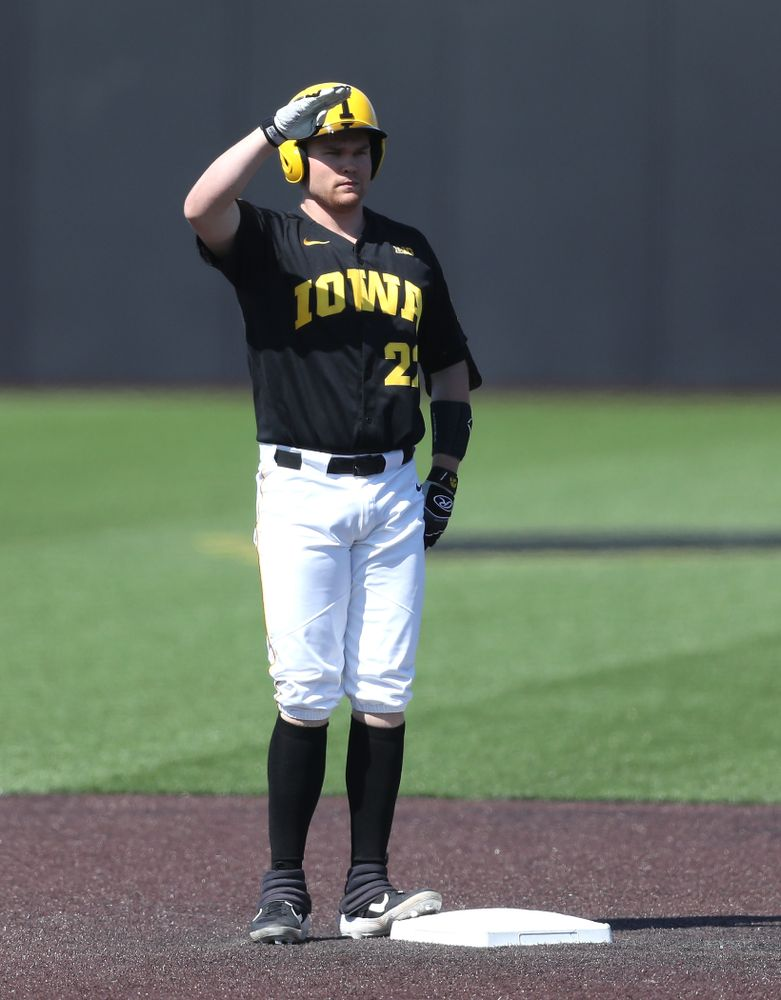 Iowa Hawkeyes Tanner Padgett (22) solutes after doubling  during game two against UC Irvine Saturday, May 4, 2019 at Duane Banks Field. (Brian Ray/hawkeyesports.com)
