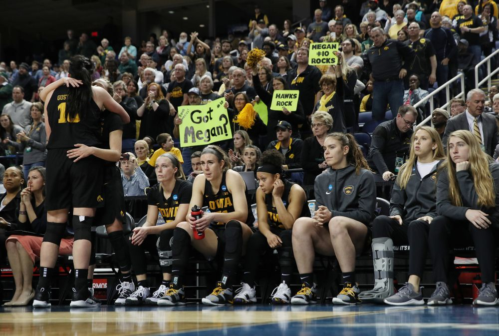 Iowa Hawkeyes forward Megan Gustafson (10) in the regional final against the Baylor Lady Bears in the 2019 NCAA Women's College Basketball Tournament Monday, April 1, 2019 at Greensboro Coliseum in Greensboro, NC.(Brian Ray/hawkeyesports.com)